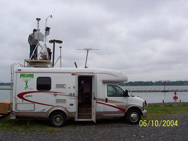 RV with scientific equipment on the roof
