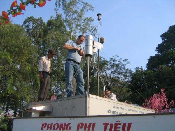 Men using scientific equipment
