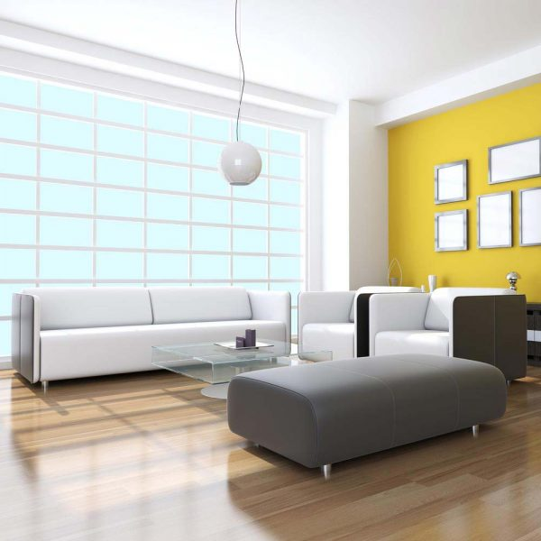 3D rendering of a room with two chairs and a couch