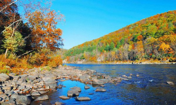 Rocky river edge with fall foliage