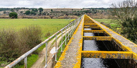 Water flowing in an aqueduct