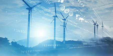 Windmills graphic with technology overlay